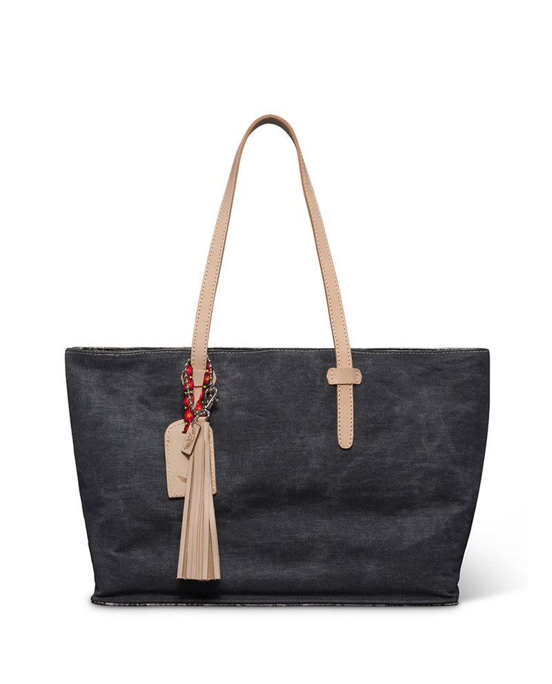 Flynn East/West Tote in grey waxed canvas by Consuela front view