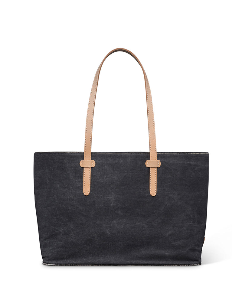 Flynn East/West Tote in grey waxed canvas by Consuela back view
