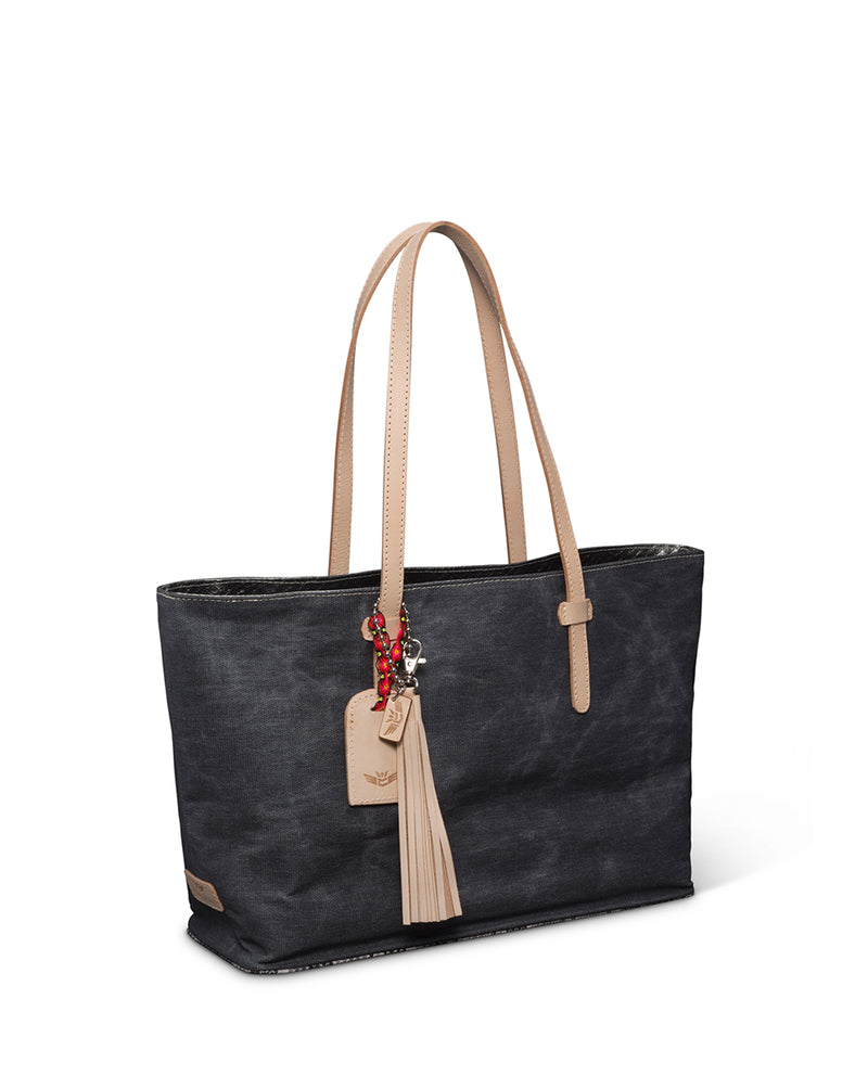 Flynn East/West Tote in grey waxed canvas by Consuela side view