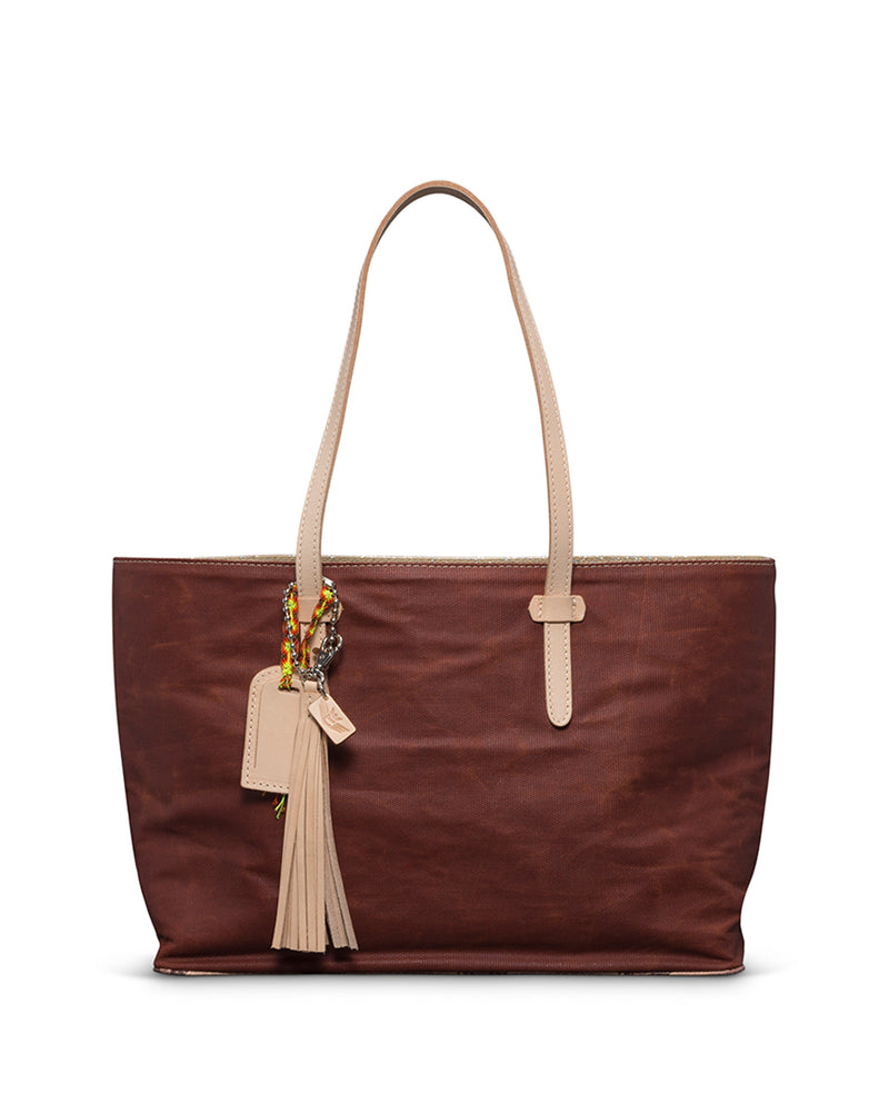 Martina East/West Tote in brick red waxed canvas by Consuela front view