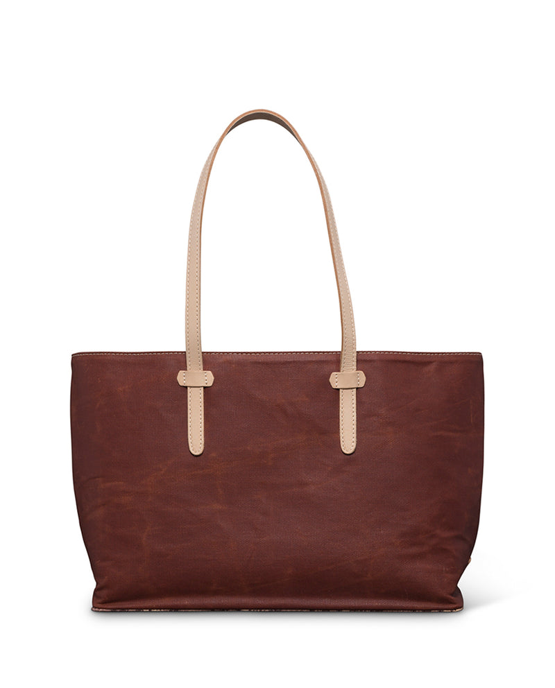 Martina East/West Tote in brick red waxed canvas by Consuela back view