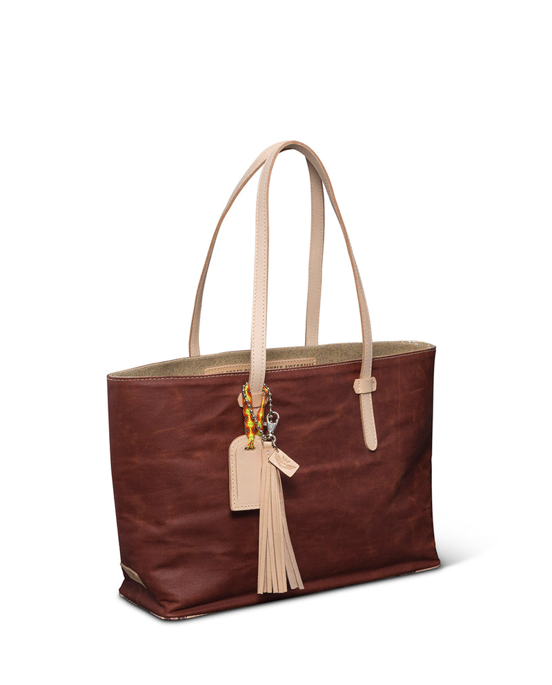 Martina East/West Tote in brick red waxed canvas by Consuela side view
