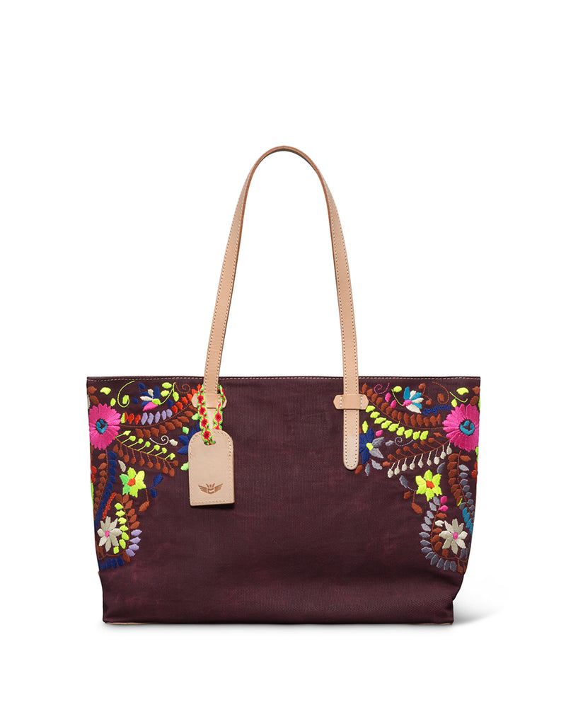 Sonoma East/West Tote in brick red waxed canvas with floral embroidery by Consuela front view