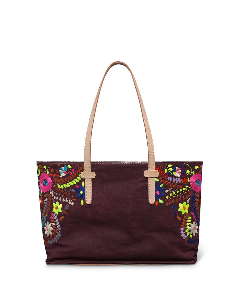 Sonoma East/West Tote in brick red waxed canvas with floral embroidery by Consuela back view
