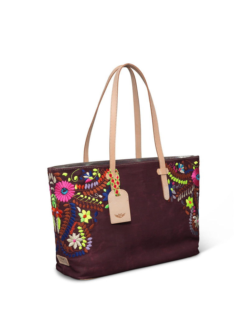 Sonoma East/West Tote in brick red waxed canvas with floral embroidery by Consuela side view