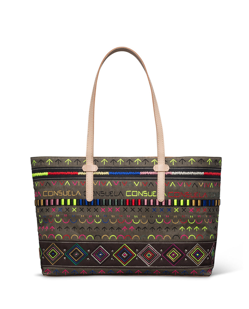 Ryan East/West Tote in fatigue waxed canvas with iconic embroidery by Consuela front view