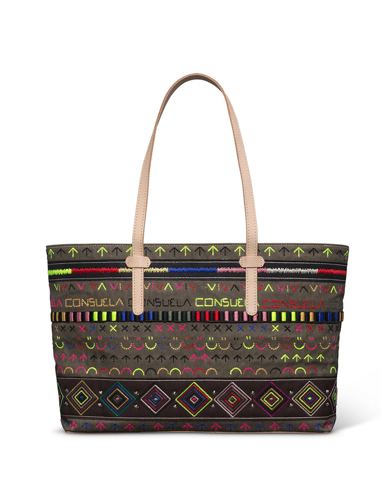 Ryan East/West Tote in fatigue waxed canvas with iconic embroidery by Consuela back view