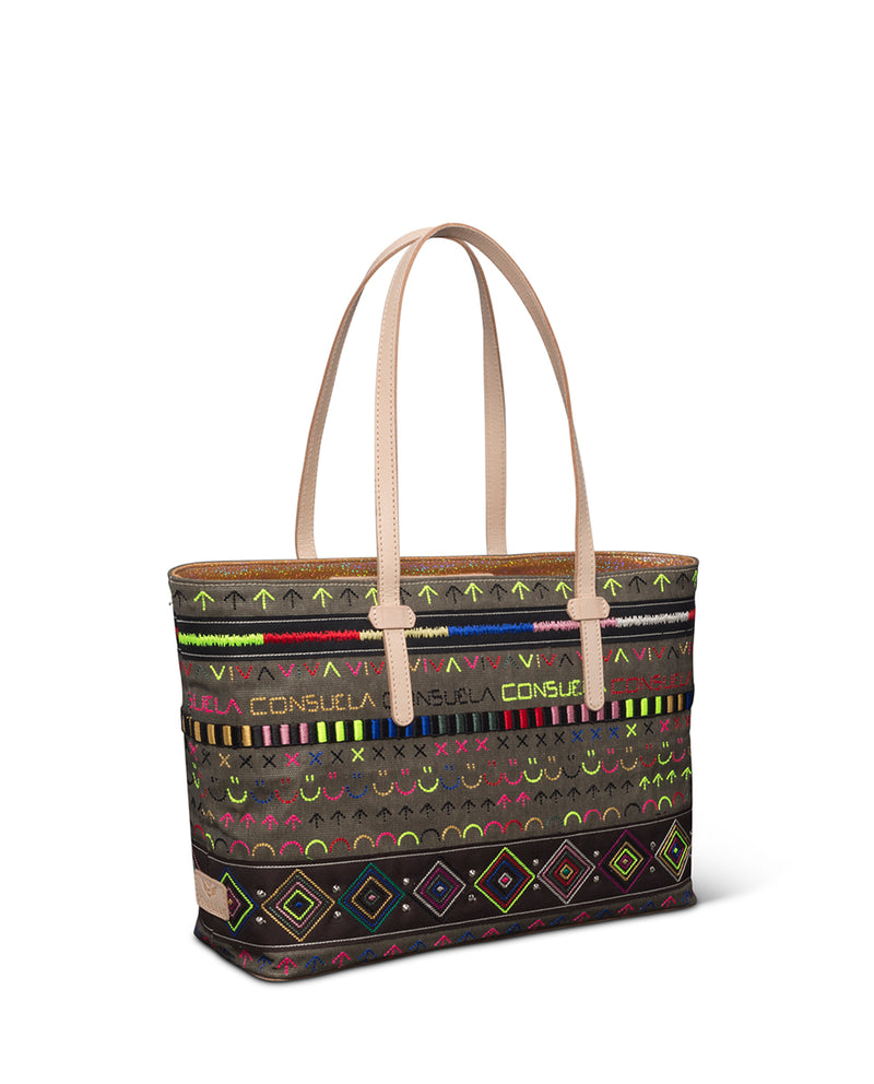 Ryan East/West Tote in fatigue waxed canvas with iconic embroidery by Consuela side view