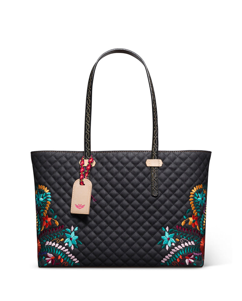 Venice East/West Tote in quilted waxed canvas with floral embroidery by Consuela front view