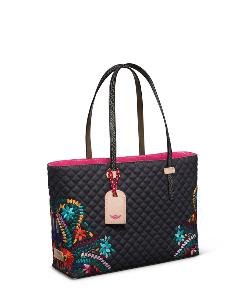 Venice East/West Tote in quilted waxed canvas with floral embroidery by Consuela side view