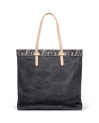 Flynn Slim Tote in grey waxed canvas by Consuela, back view
