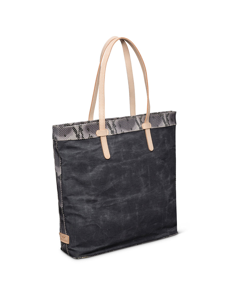 Flynn Slim Tote in grey waxed canvas by Consuela, side view