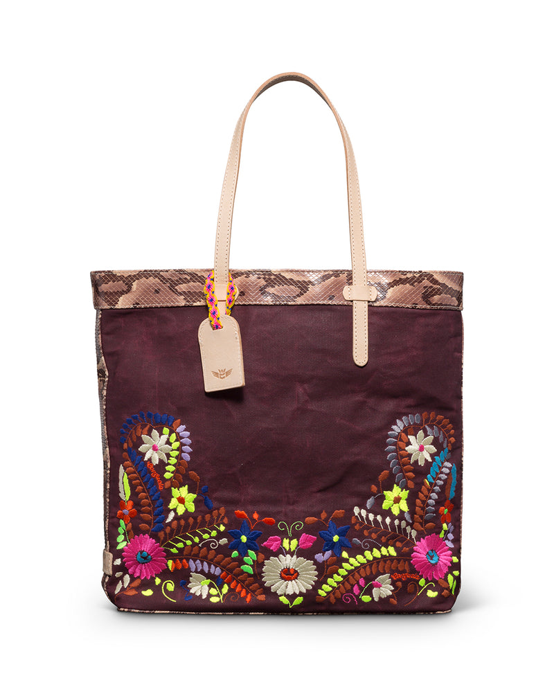 Sonoma Slim Tote in waxed canvas with embroidery by Consuela, front view