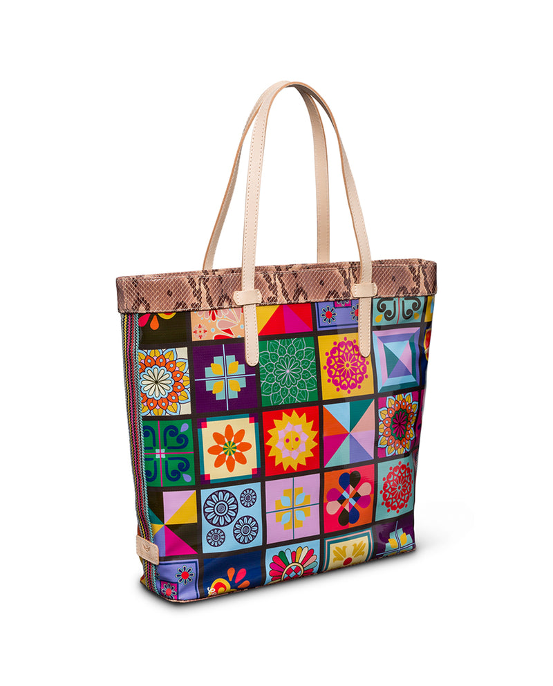 Allie Slim Tote in ConsuelaCloth™ by Consuela, side view