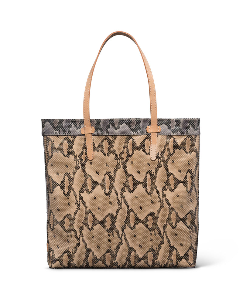 Margot Slim Tote in snake print by Consuela, front view