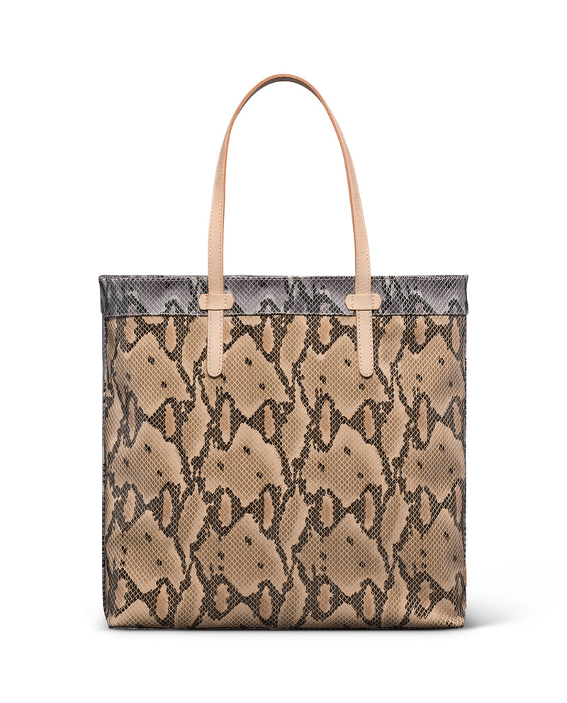 Margot Slim Tote in snake print by Consuela, back view