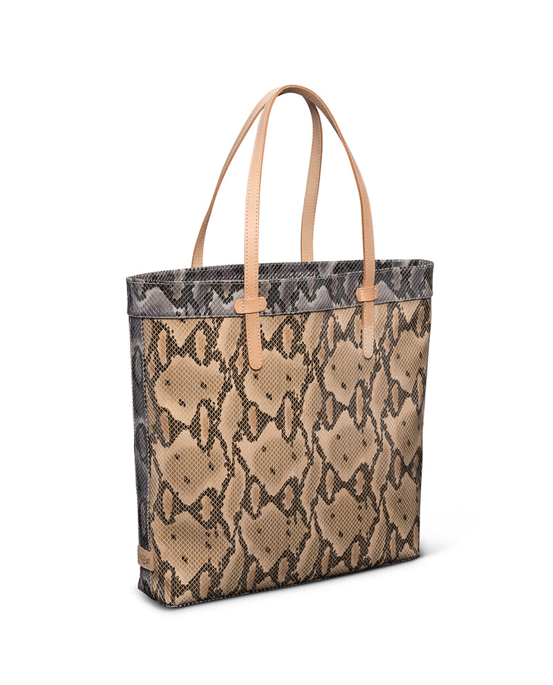 Margot Slim Tote in snake print by Consuela, side view