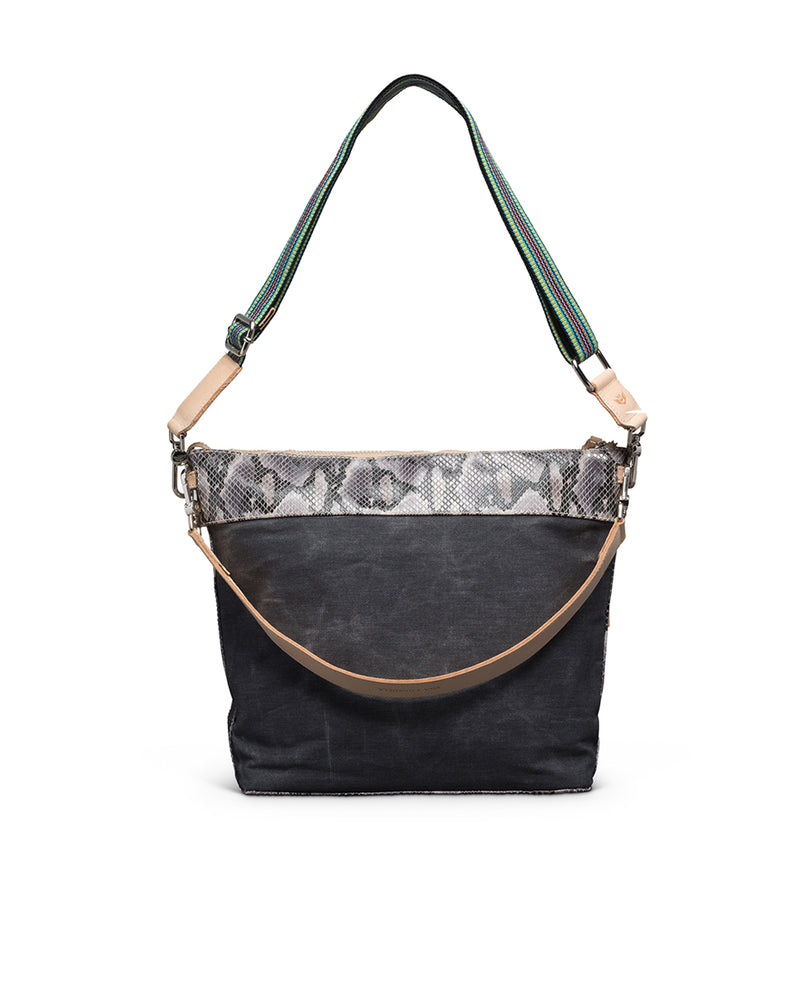 Flynn Hobo in waxed canvas with snake print by Consuela, back view