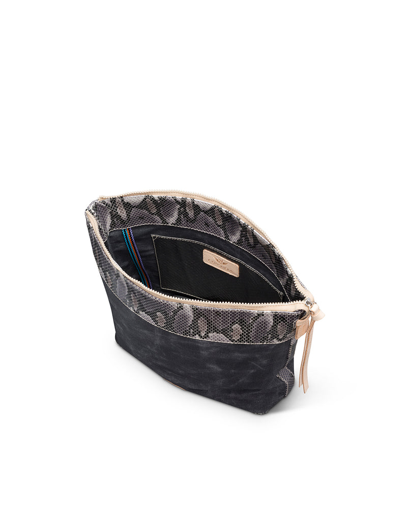 Flynn Hobo in waxed canvas with snake print by Consuela, interior view