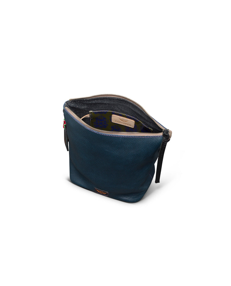 Adelita Wedge in navy pebbled leather by Consuela, interior view