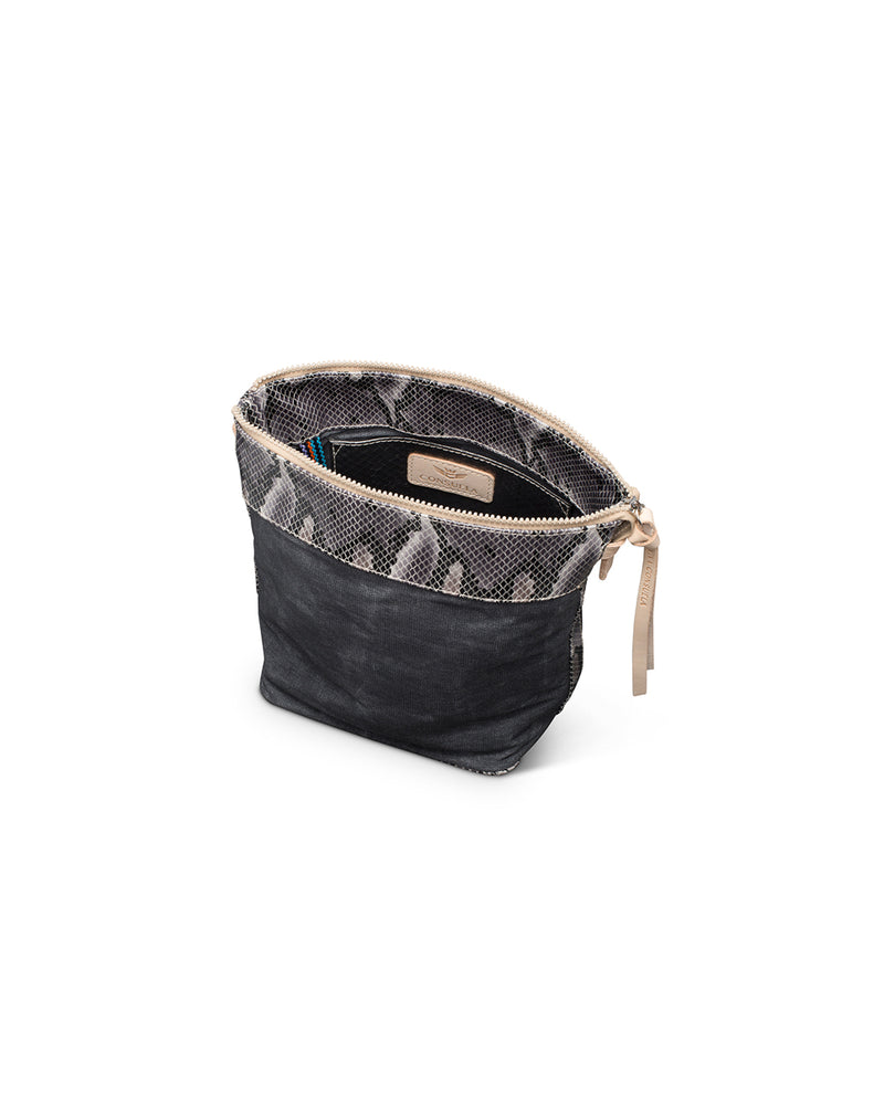 Flynn Wedge in waxed canvas with snake print accent by Consuela, interior view