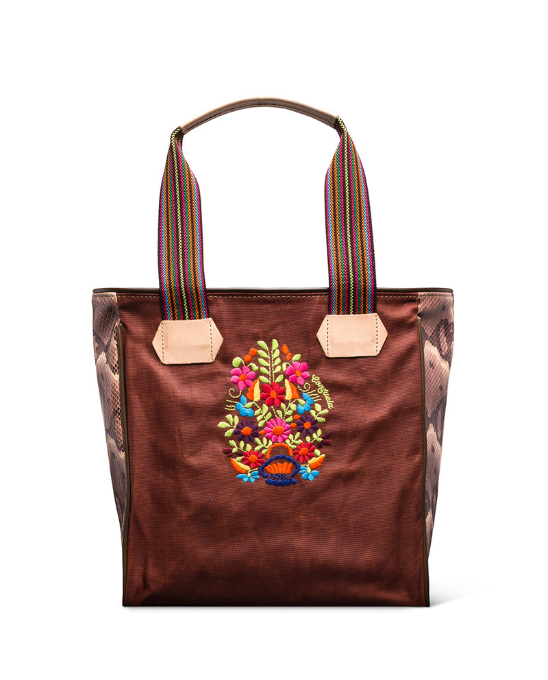 Martina Classic Tote in waxed canvas with floral embroidery by Conseula, front