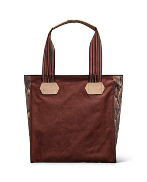Martina Classic Tote in waxed canvas with floral embroidery by Conseula, back view