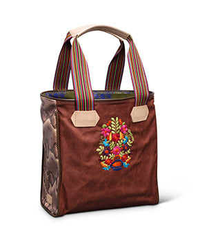 Martina Classic Tote in waxed canvas with floral embroidery by Conseula, side view