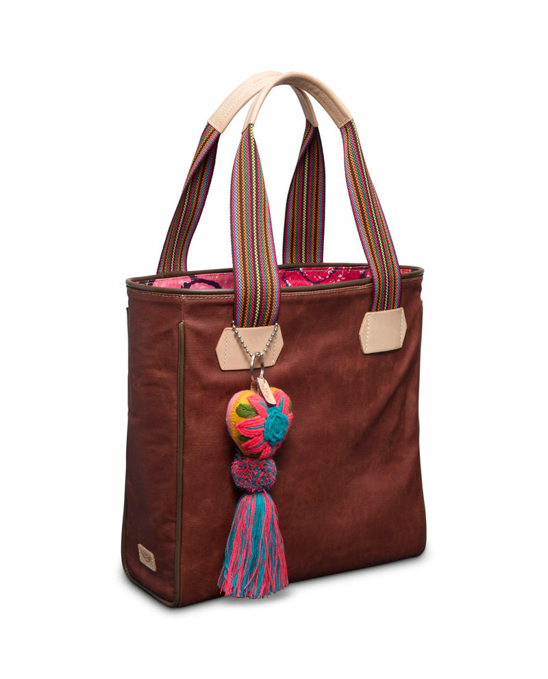 Teddy Classic Tote in waxed canvas with Conni Charm by Consuela, side view