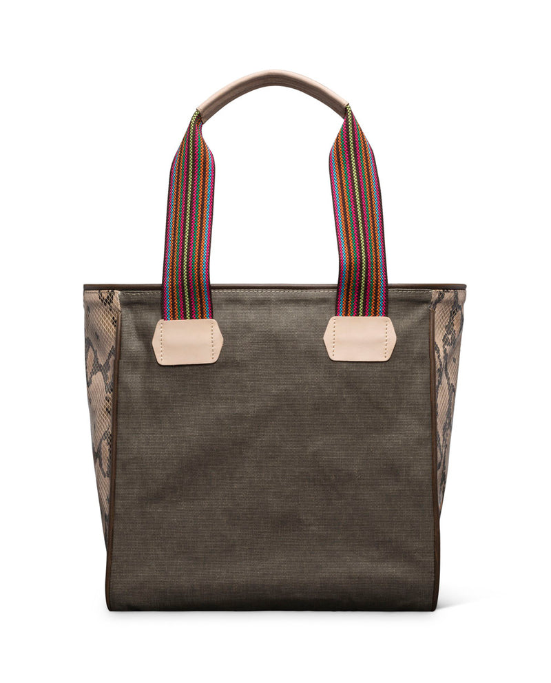Ryan Classic Tote in waxed canvas with embroidery by Consuela, back view