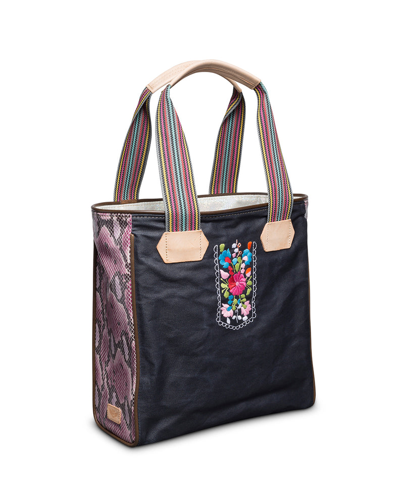 Aurora Classic Tote in slate grey waxed canvas with embroidery by Consuela, side view