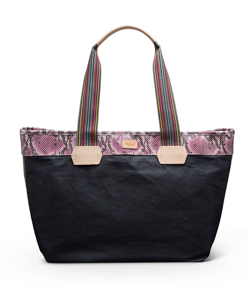 Aurora Zipper Tote in waxed canvas by Consuela, front view