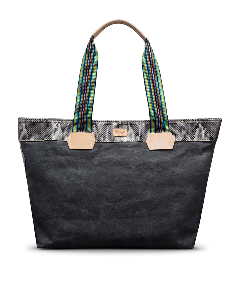 Flynn Zipper Tote in waxed canvas by Consuela, front view