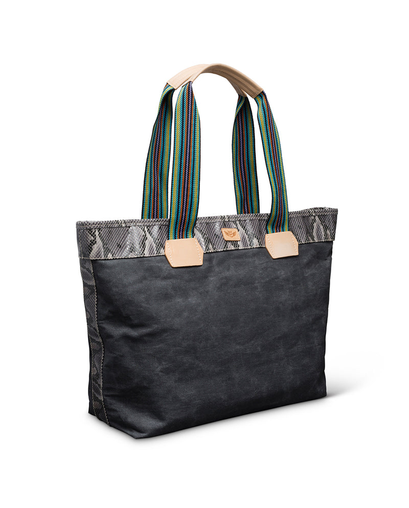 Flynn Zipper Tote in waxed canvas by Consuela, side view