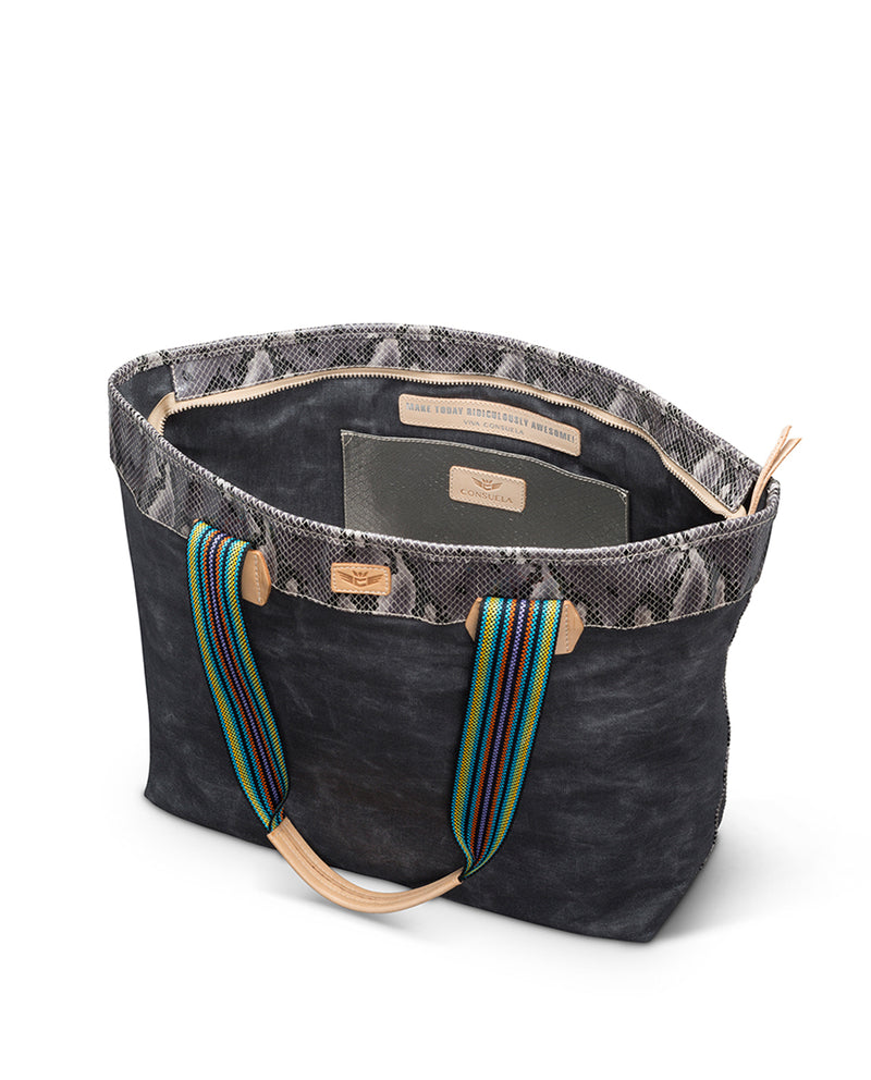 Flynn Zipper Tote in waxed canvas by Consuela, interior view