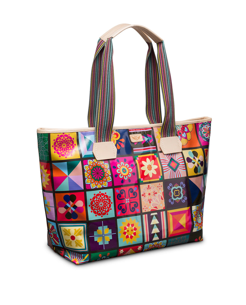 Allie Zipper Tote in ConsuelaCloth by Consuela, side view