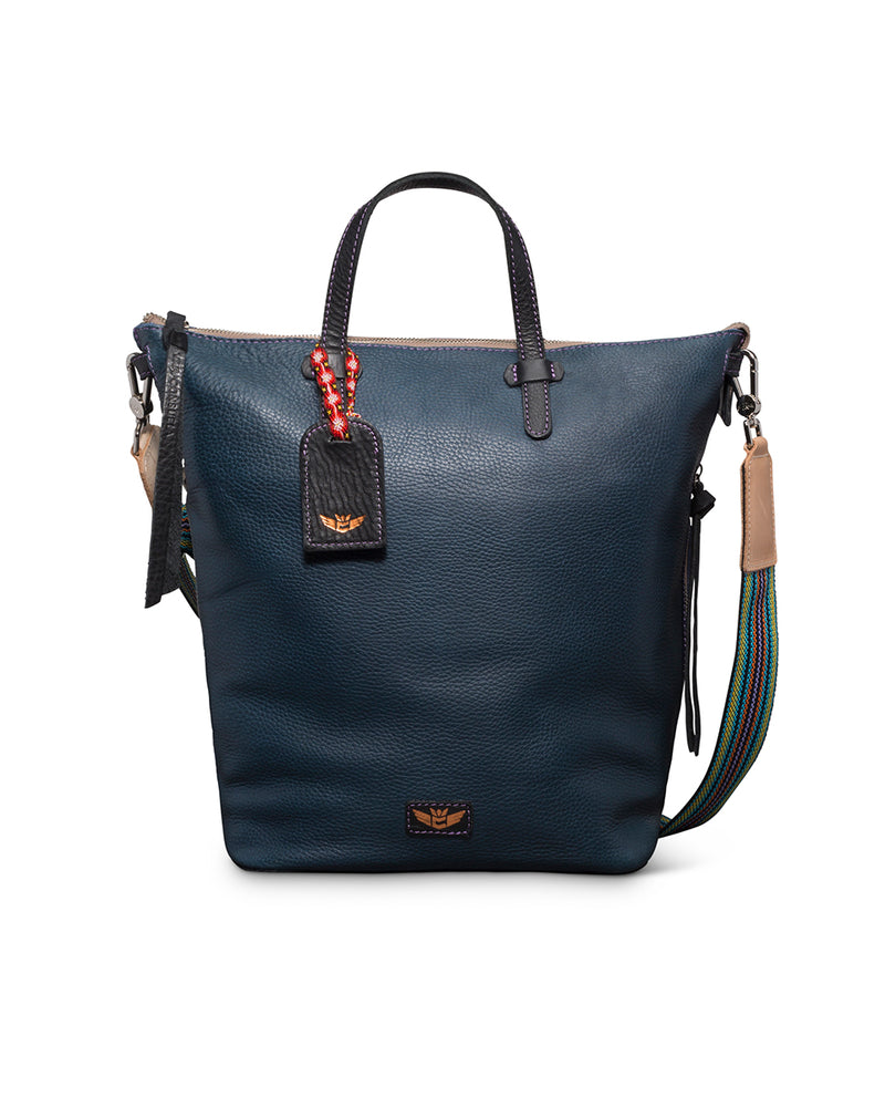 Adelita Sling in navy pebbled leather by Consuela, front view