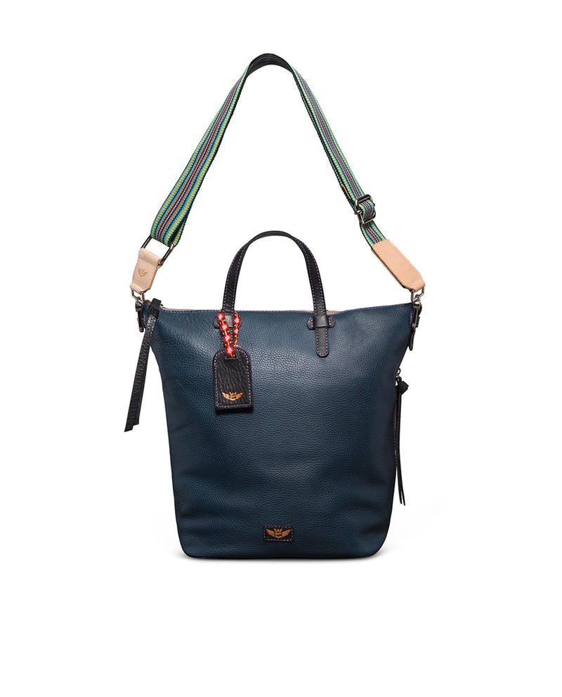 Adelita Sling in navy pebbled leather by Consuela, back view