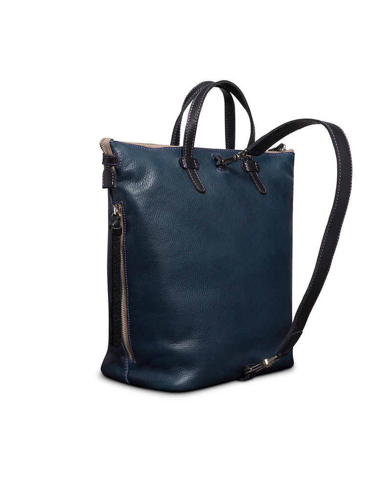 Adelita Sling in navy pebbled leather by Consuela, side view
