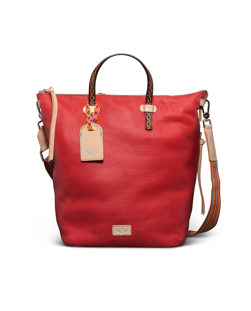 Valentina Sling in red pebbled leather by Consuela, front view