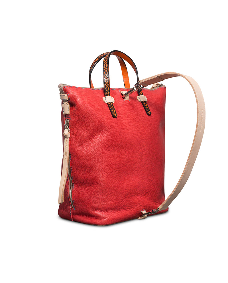 Valentina Sling in red pebbled leather by Consuela, side view