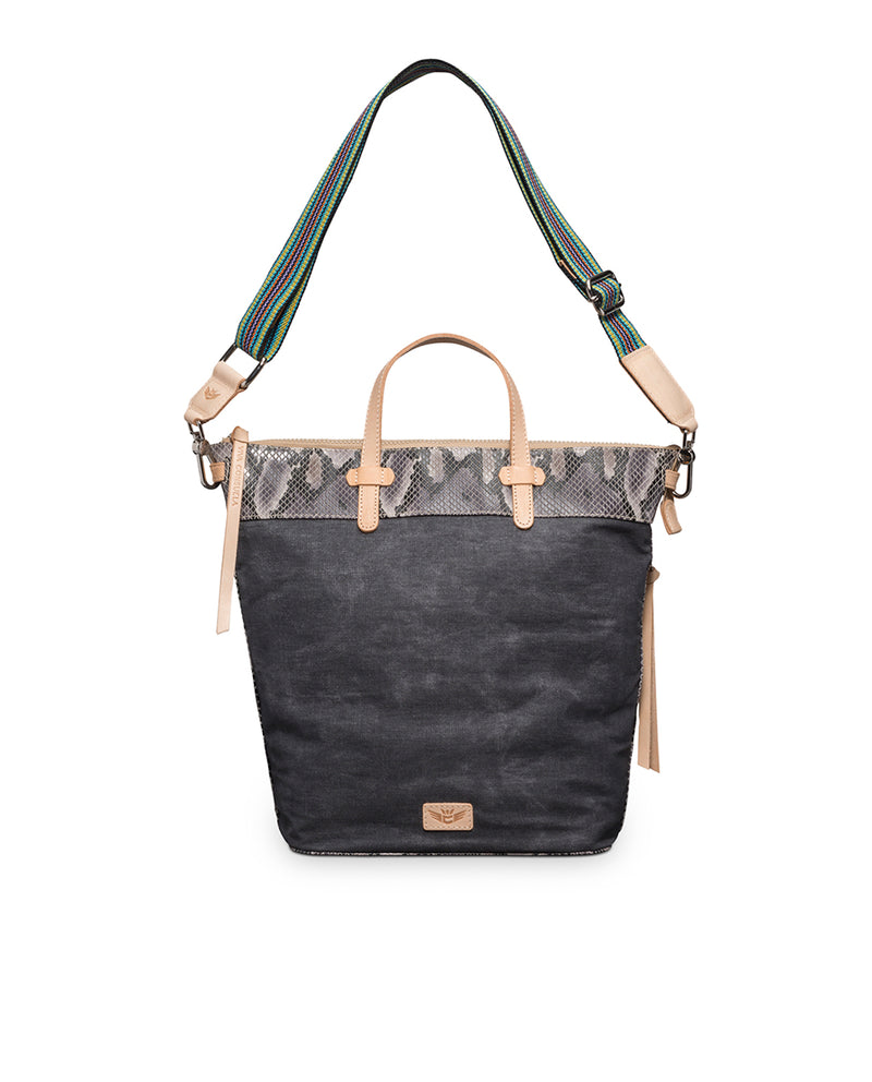 Flynn Sling in waxed canvas with snake print by Consuela, front view 2