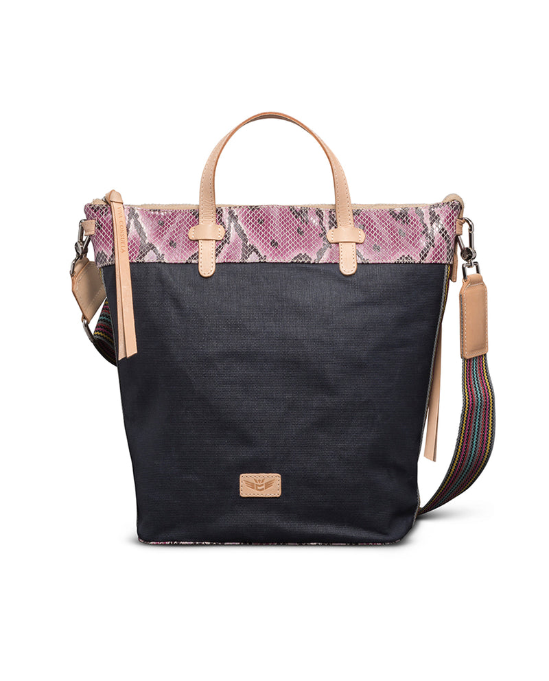 Aurora Sling in waxed canvas with snake print by Consuela, front view
