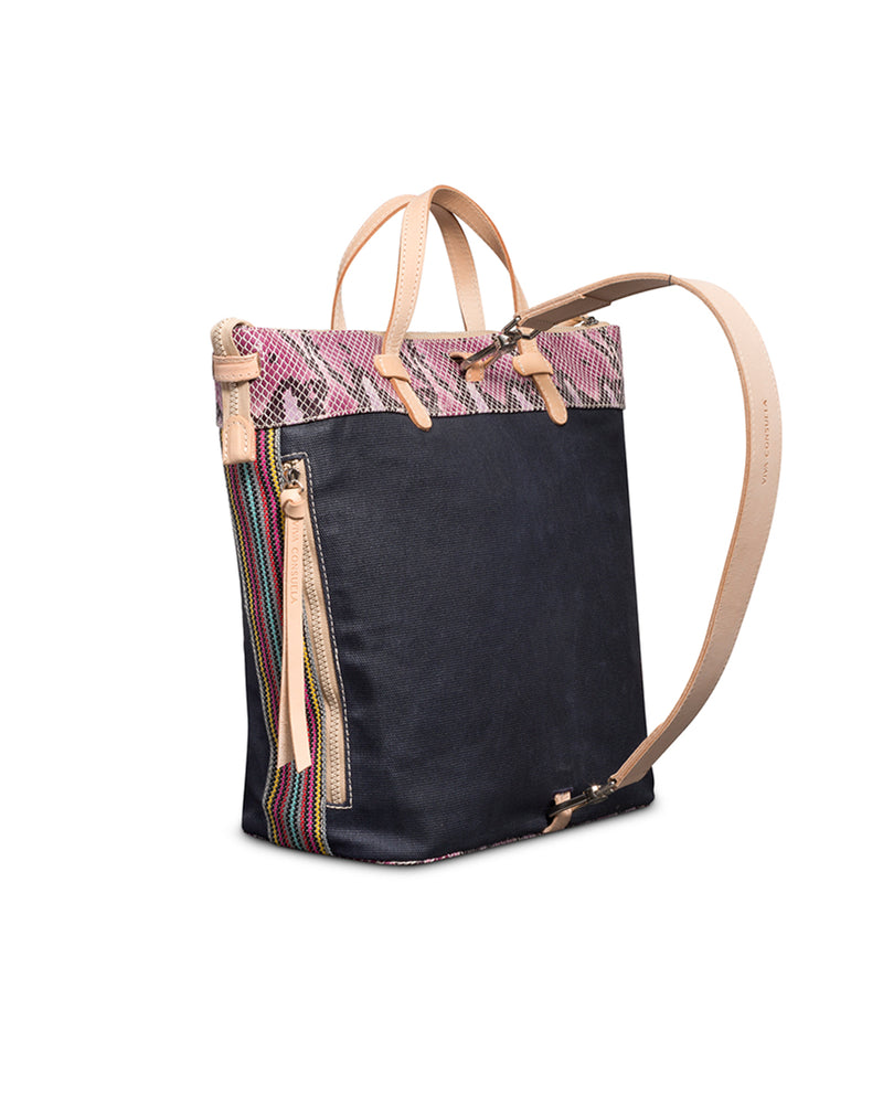 Aurora Sling in waxed canvas with snake print by Consuela, side view