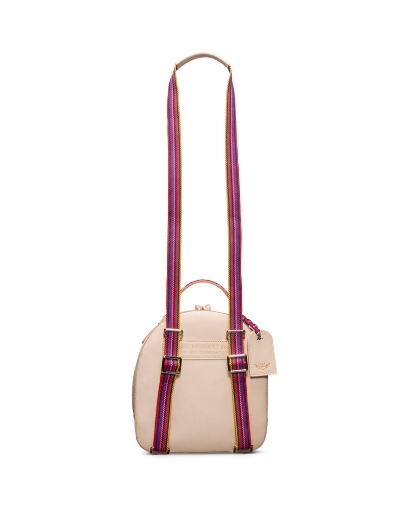 Diego City Pack in natural, untreated leather, by Consuela, back view with crossbody strap