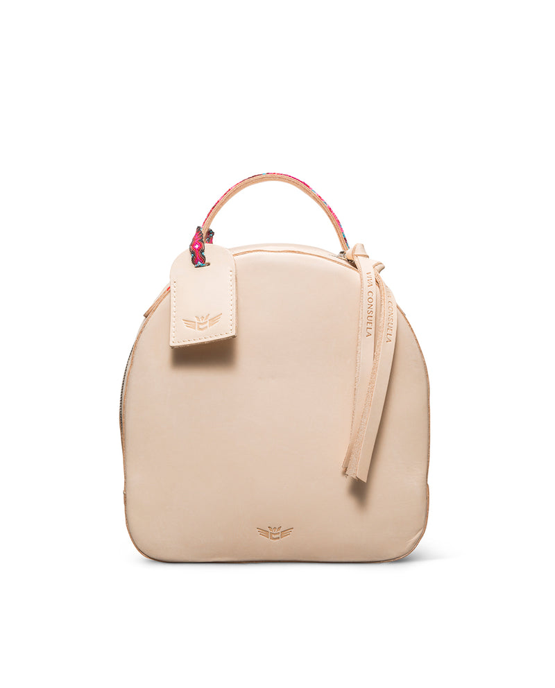 Diego City Pack in natural, untreated leather, by Consuela, front view