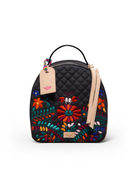 Venice City Pack in black quilted canvas with floral embroidery, by Consuela, front view
