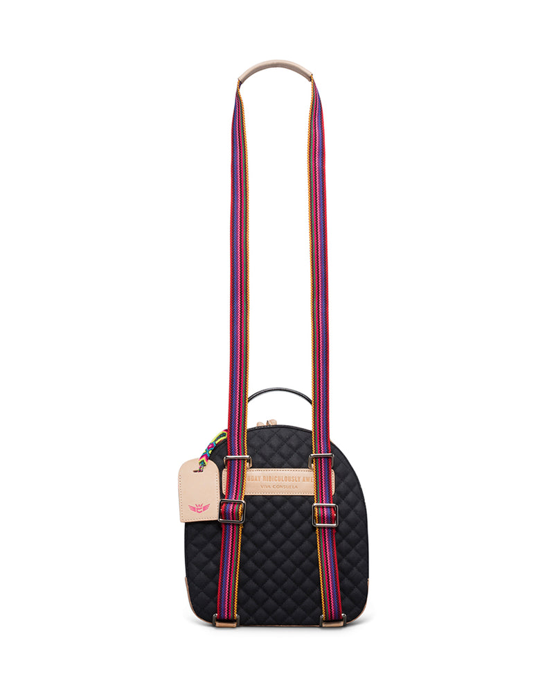 Venice City Pack in black quilted canvas with floral embroidery, by Consuela, back view with crossbody strap