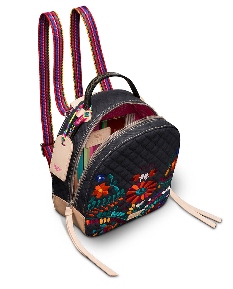 Venice City Pack in black quilted canvas with floral embroidery, by Consuela, interior view as a backpack