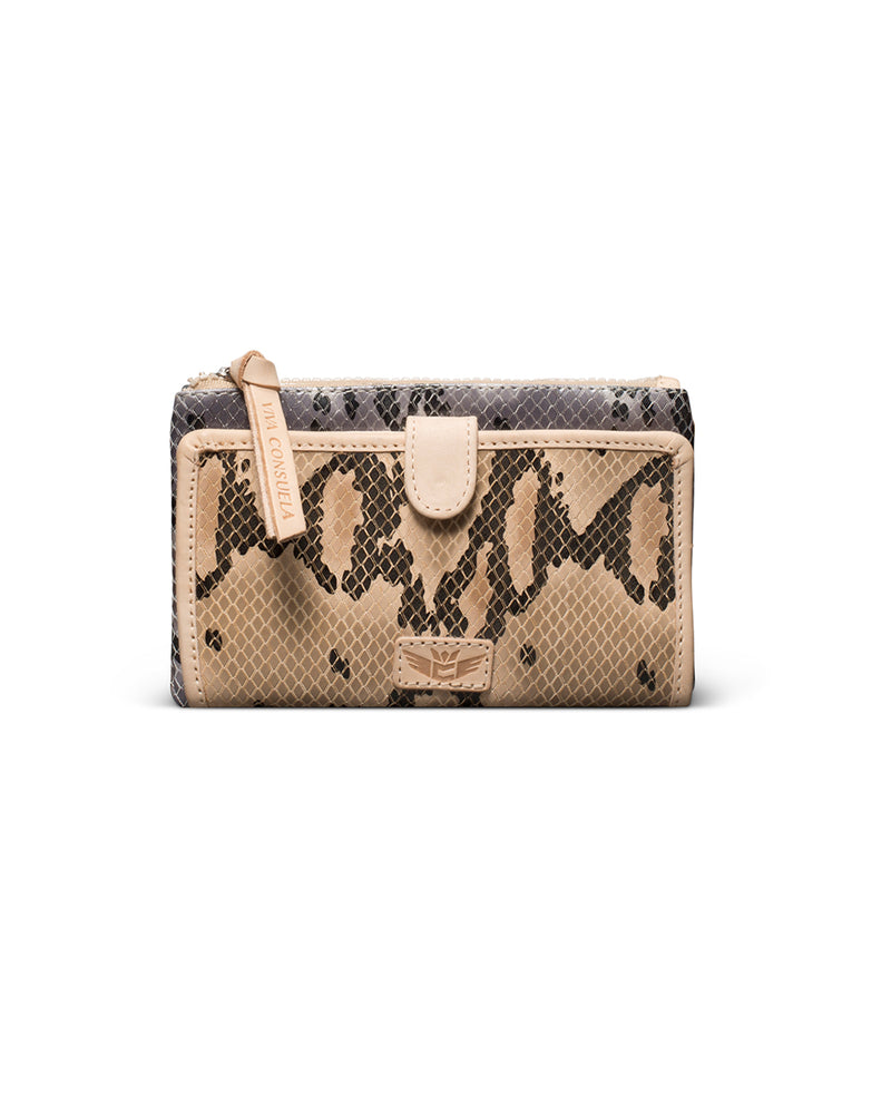 Margot Slim Wallet in snake print by Consuela, front view